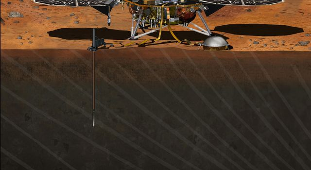 This artist's concept depicts the stationary NASA Mars lander known by the acronym InSight at work studying the interior of Mars. InSight is scheduled to launch in March 2016.
