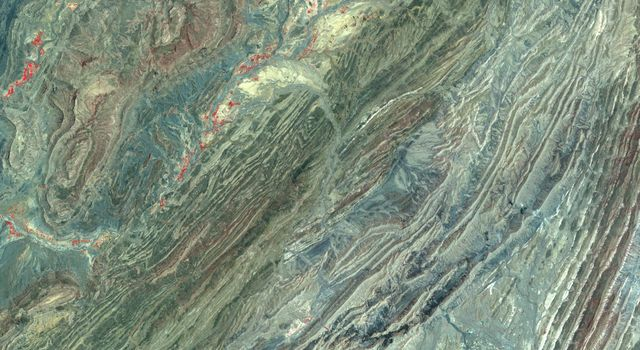 This image acquired by NASA's Terra spacecraft shows the Sulaiman fold-thrust belt in northwestern Pakistan, a linear or arcuate belt in which compression has produced a combination of thrust faults and folds.