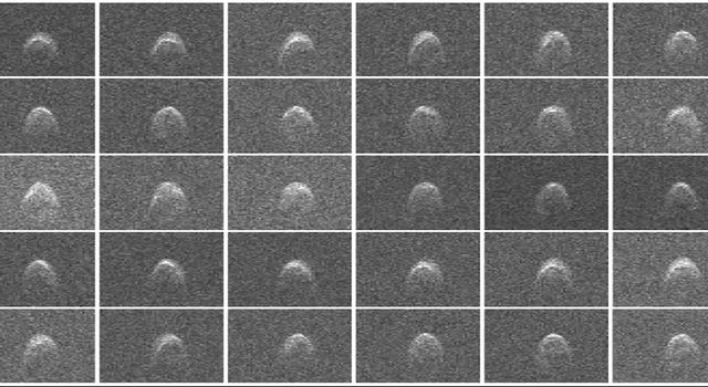 This collage of radar images of near-Earth asteroid 2005 WK4 was collected by NASA scientists using the 230-foot (70-meter) Deep Space Network antenna at Goldstone, Calif., on Aug. 8, 2013.