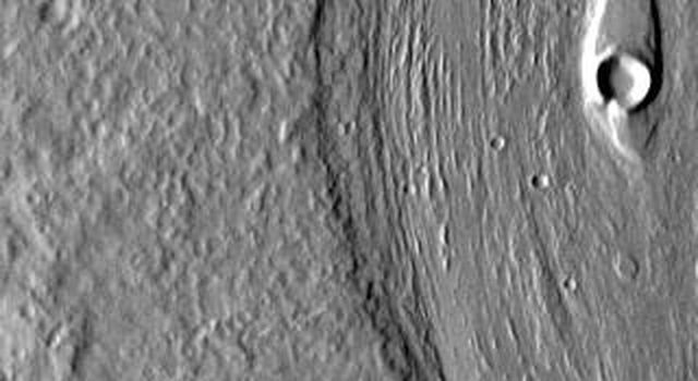 This IR image from NASA's 2001 Mars Odyssey spacecraft shows streamlined islands in the channel of Mangala Valles.