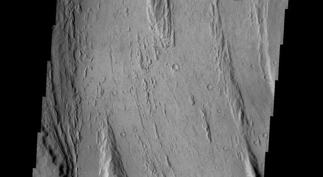 This image captured by NASA's 2001 Mars Odyssey spacecraft shows streamlined islands are located in the channel of Mangala Valles, a portion of which is shown in the image.