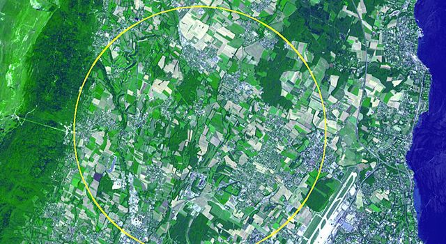 This image, acquired by NASA's Terra spacecraft, is of the CERN Large Hadron Collider, the world's largest and highest-energy particle accelerator laying beneath the French-Swiss border northwest of Geneva (yellow circle).