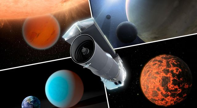 This artist's concept shows NASA's Spitzer Space Telescope surrounded by examples of exoplanets the telescope has examined in over its ten years in space.