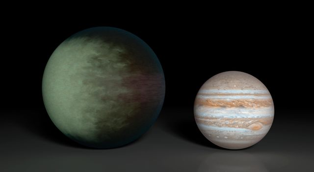 Kepler-7b (right), which is 1.5 times the radius of Jupiter (left), is the first exoplanet to have its clouds mapped. The cloud map was produced using data from NASA's Kepler and Spitzer space telescopes.
