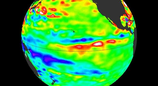 New data from NASA's Jason-2 satellite show near-normal sea surface heights in the equatorial Pacific Ocean persisting for a 16th straight month.