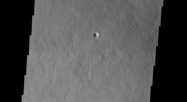 Part of the summit caldera of Olympus Mons is visible at the bottom of this image as seen by NASA's 2001 Mars Odyssey spacecraft.