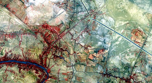 This image, acquired by NASA's Terra spacecraft, is of the ancient city of Uruk is located in present-day Iraq, on an abandoned channel of the Euphrates River.