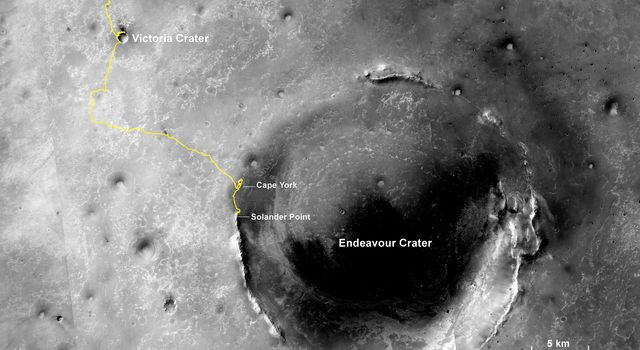 The gold line on this image shows NASA's Mars Exploration Rover Opportunity's route as it investigating on the western rim of Endeavour Crater.