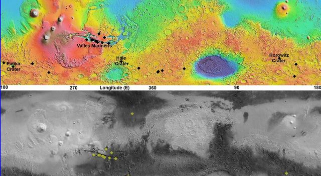 This pair of maps based on albedo information from NASA's Mars Odyssey orbiter and topographical information from NASA's Mars Global Surveyor orbiter indicates locations of confirmed sites of recurrent slope linea on Mars.
