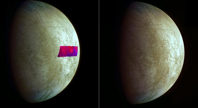 This image, using data from NASA's Galileo mission, shows the first detection of clay-like minerals on the surface of Jupiter's moon Europa.