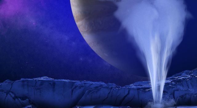 This is an artist's concept of a plume of water vapor thought to be ejected off the frigid, icy surface of the Jovian moon Europa, located about 500 million miles (800 million kilometers) from the sun.
