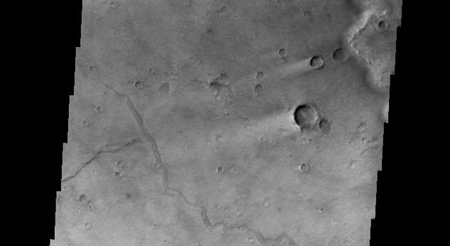 This image shows wind streaks in Syrtis Major Planum as seen by NASA's 2001 Mars Odyssey spacecraft.