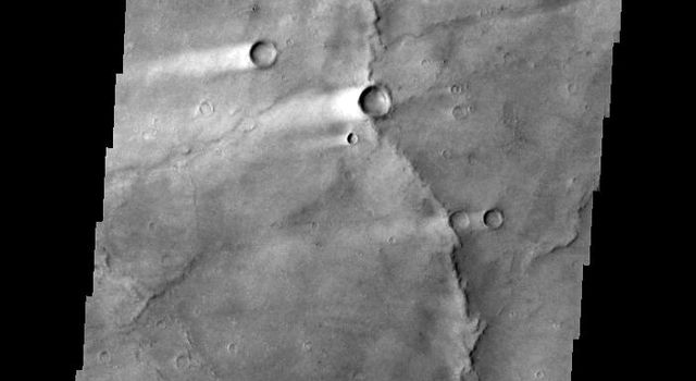 This image shows several wind streaks in Syrtis Major Planum as seen by NASA's 2001 Mars Odyssey spacecraft.