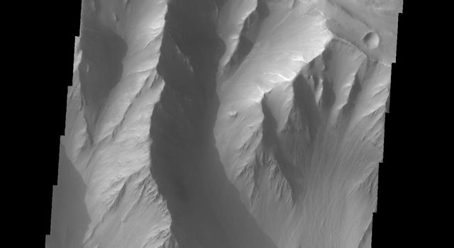 This image shows part of Coprates Chasma as seen by NASA's 2001 Mars Odyssey spacecraft.