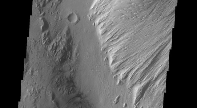 This image from NASA's 2001 Mars Odyssey spacecraft shows part of the large deposit on the floor of Nicholson Crater.