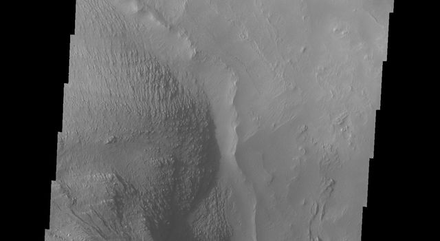 Shadows cast by the high walls and high hills within Candor Chasma are visible in this image from NASA's 2001 Mars Odyssey spacecraft. The local time is near 5:00 in the afternoon.