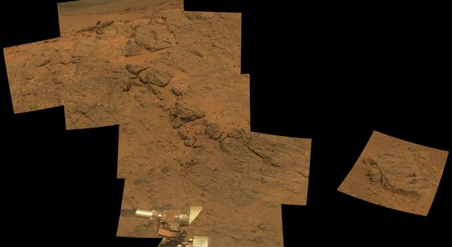 NASA's Mars Exploration Rover Opportunity observed this outcrop on the 'Murray Ridge' portion of the rim of Endeavour Crater as the rover approached the 10th anniversary of its landing on Mars.