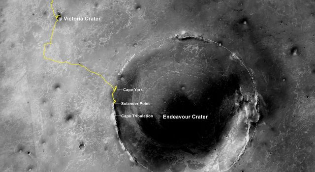 The gold line on this image shows NASA's Opportunity's route from the landing site, in upper left, to the area it is investigating on the western rim of Endeavour Crater as of the rover's 10th anniversary on Mars, in Earth years.