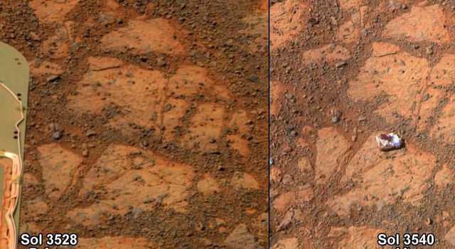 This before-and-after pair of images of the same patch of ground in front of NASA's Mars Exploration Rover Opportunity 13 days apart documents the arrival of a bright rock onto the scene.