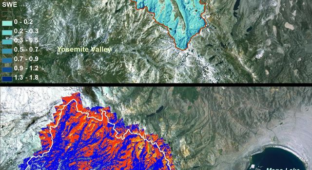 NASA Airborne Snow Observatory measurements of snow water equivalent (top image) and snow albedo, or reflectivity (bottom image) for the Tuolumne River Basin in California's Sierra Nevada on April 21, 2013.