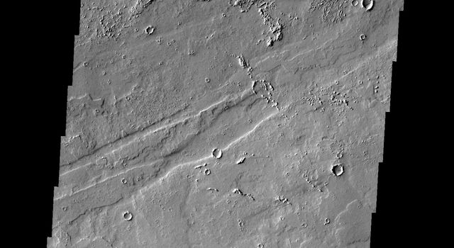 The two dark windstreaks in this image from NASA's 2001 Mars Odyssey spacecraft are located on the extensive lava plains of Daedalia Planum.