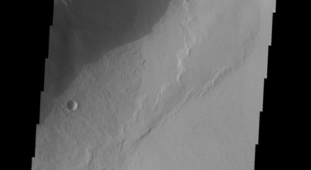 The lava flows in this image captured by NASA's 2001 Mars Odyssey spacecraft are located of the eastern margin of the Tharsis Volcanic complex.