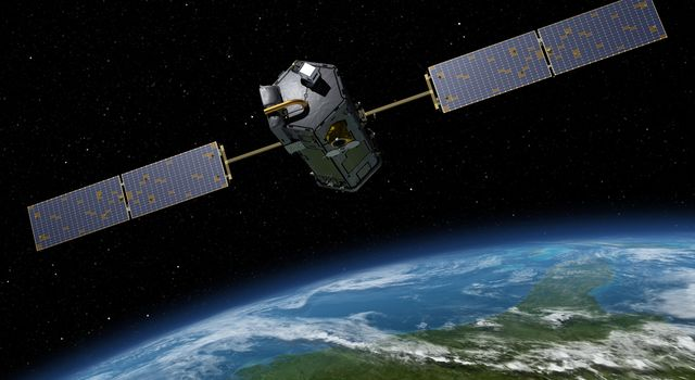Artist's rendering of NASA's Orbiting Carbon Observatory (OCO)-2, one of five new NASA Earth science missions set to launch in 2014, and one of three managed by JPL.