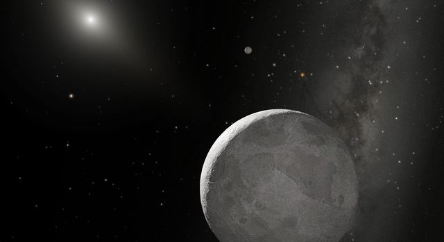 This is an artist's concept of Kuiper Belt object 2003 UB313 (nicknamed 'Xena') and its satellite 'Gabrielle.' Xena is the large object at the bottom of this artist's concept.