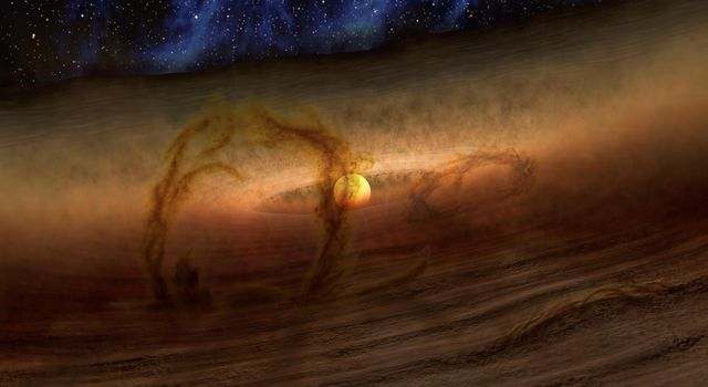 Magnetic loops carrying gas and dust above disks of planet-forming material circling stars are shown in this artist's conception, which NASA's Spitzer Space Telescope detects as infrared light.