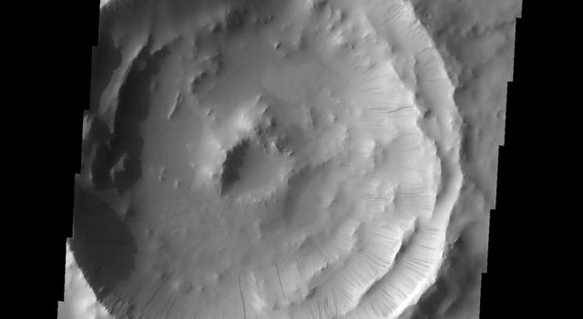 Numerous dark slope streaks mark the complex inner rim of this unnamed crater in Terra Sabaea in this image from NASA's 2001 Mars Odyssey spacecraft.