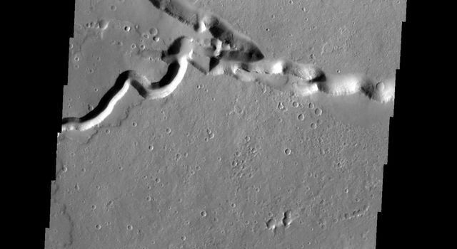 This image captured by NASA's 2001 Mars Odyssey spacecraft shows where Patapsco Vallis enters the largest depression of Elysium Fossae. Patapsco Vallis, on the Elysium Mons volcanic complex, was likely formed by the flow of lava rather than water.