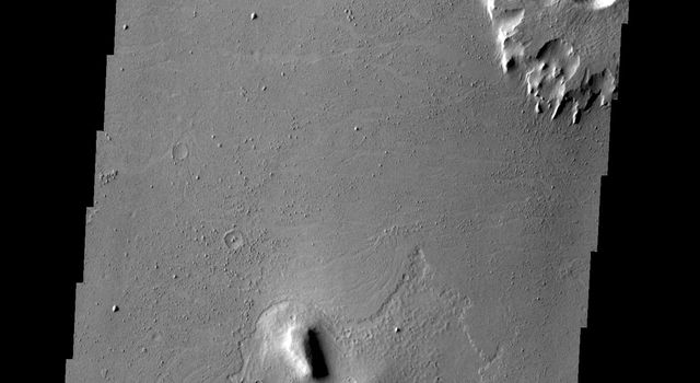 The southern Amazonis Planitia shows two craters with ejecta that stand out above the surrounding surface. The ejecta has remained in place while the surrounding material was removed. This image is from NASA's 2001 Mars Odyssey spacecraft.