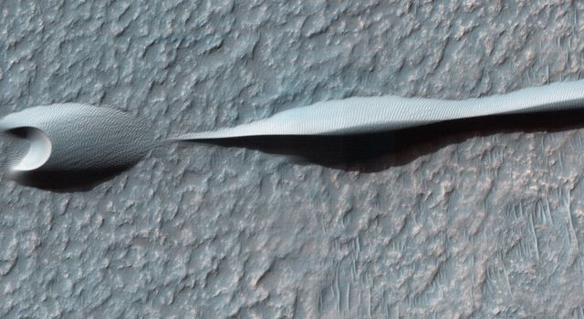 Sand dunes like those seen in this image from NASA's Mars Reconnaissance Orbiter have been observed to creep slowly across the surface of Mars through the action of the wind.