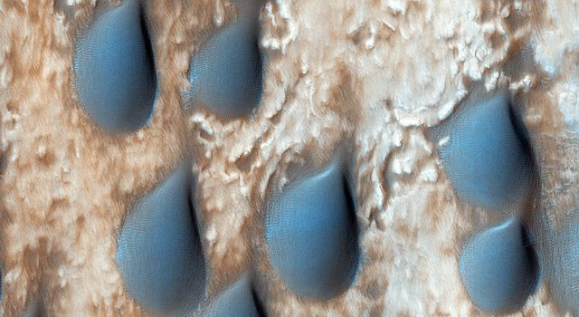 The dark features here look like raindrops, but are actually sand dunes in Copernicus Crater. This observation is from NASA's Mars Reconnaissance Orbiter.