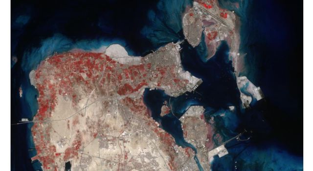 This image acquired by NASA's Terra spacecraft is of the Kingdom of Bahrain, a small island country near the western shore of the Persian Gulf.