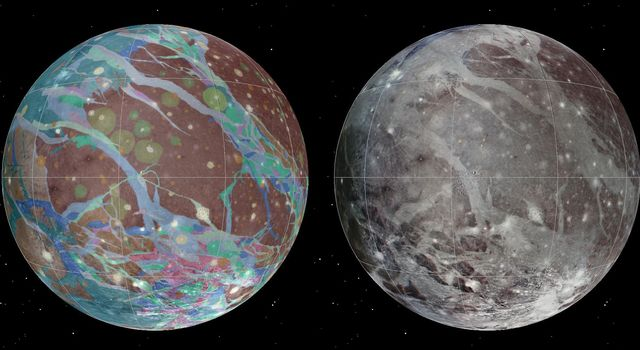 To present the best information in a single view of Jupiter's moon Ganymede, a global image mosaic was assembled, incorporating the best available imagery from NASA's Voyager 1 and 2 spacecraft and NASA's Galileo spacecraft.