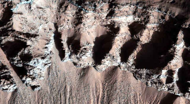 This image, acquired by NASA's Mars Reconnaissance Orbiter, in southern winter over part of Asimov Crater, shows the crater appears to have been completely filled by a thick sequence of materials, perhaps including sediments and lava flows.