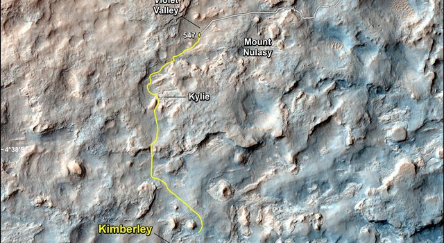 This map shows the route driven and route planned for NASA's Curiosity Mars rover from before reaching 'Dingo Gap' in upper right, to the mission's next science waypoint, 'Kimberley' (formerly referred to as 'KMS-9'), lower left.