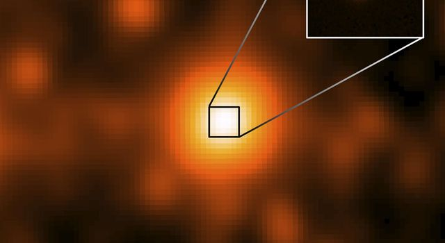 The third closest star system to the sun, called WISE J104915.57-531906, center of large image, which was taken by NASA's WISE. It appeared to be a single object, but a sharper image from Gemini Observatory, revealed that it was binary star system.