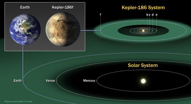 This diagram compares the planets of our inner solar system to Kepler-186, a five-planet star system about 500 light-years from Earth in the constellation Cygnus.