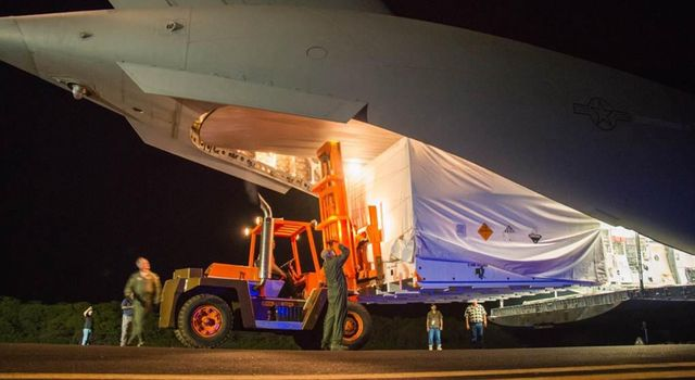 The saucer-shaped test vehicle for NASA's Low-Density Supersonic Decelerator (LDSD) project, packaged in the box shown here, was shipped via plane to the Navy's Pacific Missile Range Facility in Kauai, Hawaii on April 17.