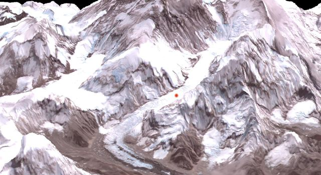 On Friday, April 26, 2014, an avalanche on Mount Everest killed at least 13 Sherpa guides. NASA's Terra spacecraft looked toward the northeast, with Mount Everest (center), and Lhotse, the fourth-highest mountain on Earth, on the skyline to right center.