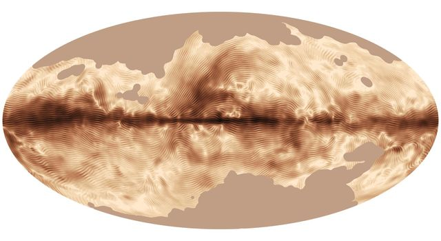 The magnetic field of our Milky Way galaxy as seen by ESA's Planck satellite. This image was compiled from the first all-sky observations of polarized light emitted by interstellar dust in the Milky Way.