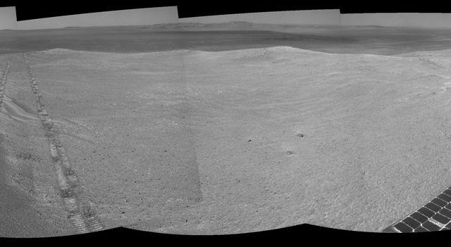 The component images for this 360-degree panorama were taken by NASA's Mars Exploration Rover Opportunity after the rover drove about 97 feet southeastward on April 22, 2014. The location is on the western rim of Endeavour Crater.
