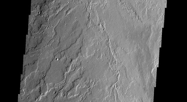 This image shows lava flows that originated at Olympus Mons as seen by NASA's 2001 Mars Odyssey spacecraft.