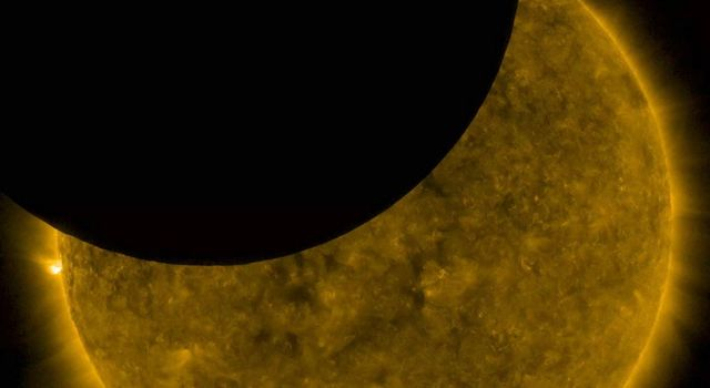 NASAs Solar Dynamics Observatory shows a lunar transit, when the Moon partially blocked SDOs view of the Sun on Nov. 7, 2018.