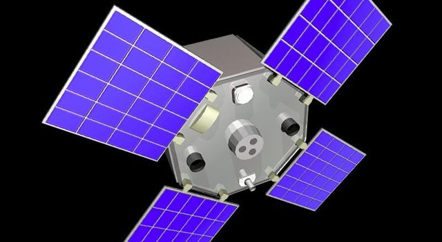 Artist's concept of NASA's Active Cavity Radiometer Irradiance Monitor satellite, or ACRIMSAT, was launched in December 1999.
