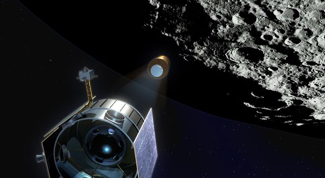 Artist's rendering of the Lunar Crater Observation and Sensing Satellite (LCROSS) observing its Centaur upper rocket stage on route to impact the lunar surface in 2009.