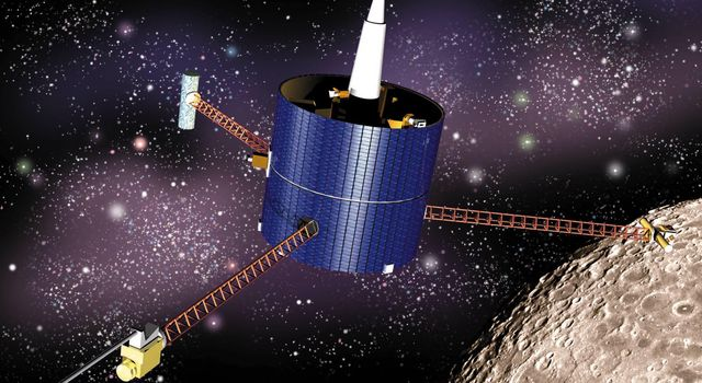 This artist's concept of the Lunar Prospector shows the spacecraft in lunar orbit. Instrument masts are fully deployed.