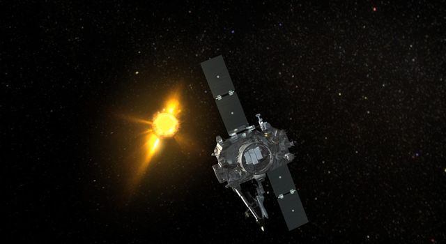 Artist concept of NASA's STEREO-A Spacecraft Observing a very active Sun.